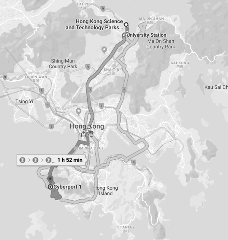HKSTP to Cyberport Map